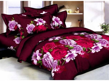 Rose and Lily 3D Printed Burgundy Cotton 4-Piece Bedding Sets/Duvet Covers