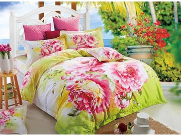 3D Pink Peony Prined Cotton Pastoral Style 4-Piece Bedding Sets/Duvet Covers