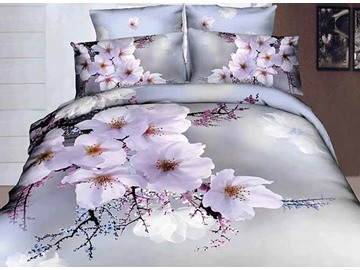 3D White Cherry Blossom Printed Cotton 4-Piece Bedding Sets/Duvet Covers