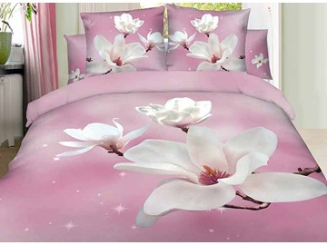 3D White Magnolia Printed Cotton 4-Piece Light Pink Bedding Sets/Duvet Covers