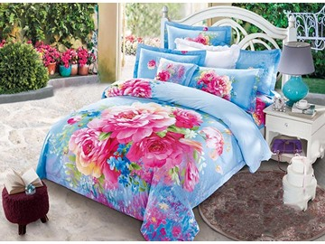 Twin Size 3D Blooming Pink Peonies Printed Cotton 4-Piece Blue/Pink Bedding Sets