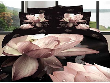 3D Pink Lotus Printed Cotton 4-Piece Black Bedding Sets/Duvet Cover
