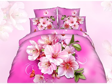 Vibrant 3D Peach Blossom Printing Cotton 4-Piece Duvet Cover Sets