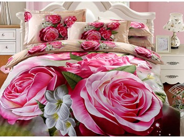 3D Red Peony Printed Cotton Full Size 4-Piece Bedding Sets/Duvet Covers