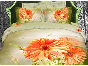 3D Orange Daisies Printed Cotton 4-Piece Bedding Sets/Duvet Cover