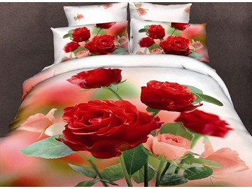 Adorable Roses Print 4-Piece Duvet Cover Sets