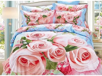 Excellent Pink Rose Print Cotton 4-Piece Bedding Sets