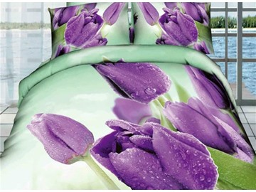 3D Purple Tulips Printed Cotton Full Size 4-Piece Bedding Sets/Duvet Covers