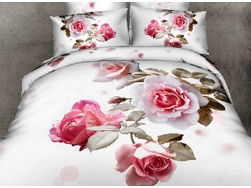 3D Light Pink Roses Printed Cotton Full Size 4-Piece White Bedding Sets