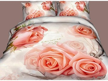 Noble Pink Rose Print 4-Piece Cotton 3D Duvet Cover Sets