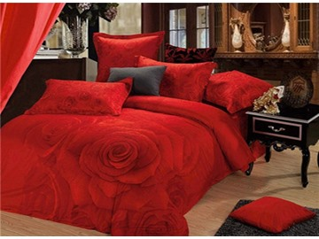 Shining Red Rose Print 4-Piece Cotton 3D Duvet Cover Sets
