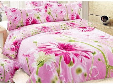 Sweet Pink Daisy Print 4-Piece Duvet Cover Sets