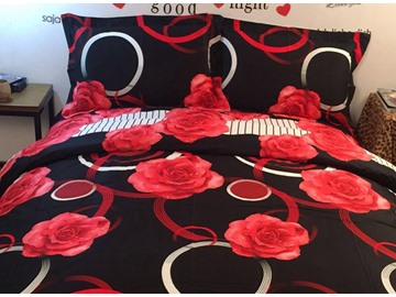 3D Red Rose and Circle Printed Cotton 4-Piece Black Bedding Sets/Duvet Covers