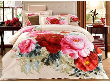 3D Peonies Printed Cotton 4-Piece Bedding Sets/Duvet Covers