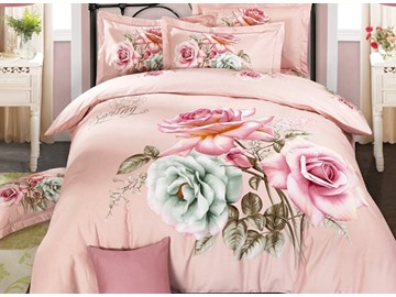 Seductive Colorful Rose 3D Print 4-Piece Cotton Duvet Cover Sets