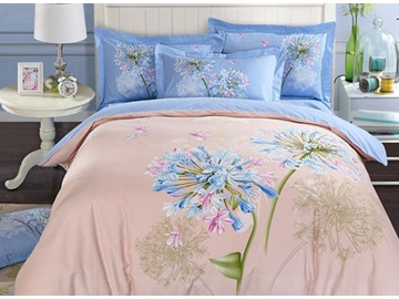 3D Hyacinth Printed Cotton 4-Piece Bedding Sets/Duvet Covers