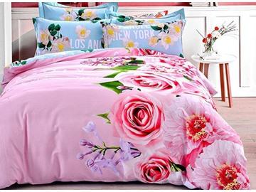 Dreamy Pink Rose Print 4-Piece Cotton Duvet Cover Sets