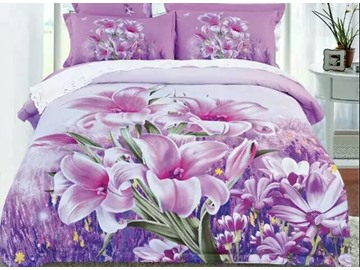 Excellent Pink Lily Printed 4-Piece Cotton Duvet Cover Sets
