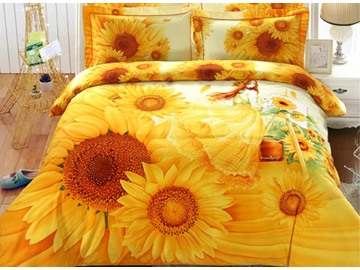 3D Sunflower and Girl Printed 4-Piece Yellow Bedding Sets/Duvet Covers