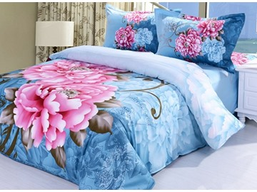 3D Pink Peony Printed Cotton 4-Piece Blue Bedding Sets/Duvet Covers