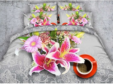 Pink Lily and Daisy Printed Cotton 4-Piece 3D Bedding Sets/Duvet Covers