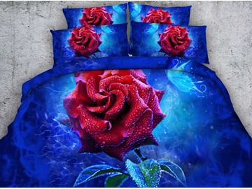 Red Rose Printed Printed Cotton 4-Piece Blue 3D Bedding Sets/Duvet Covers