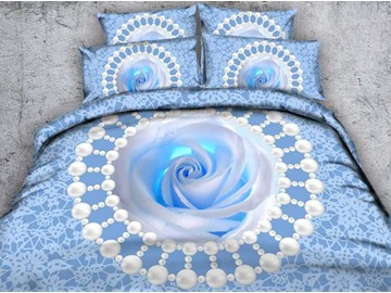 Blue Rose and Pearls Printed Cotton 4-Piece 3D Bedding Sets/Duvet Covers