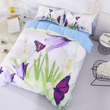 Onlwe 3D Saffron Crocus and Butterfly Printed Cotton 4-Piece Bedding Sets/Duvet Covers