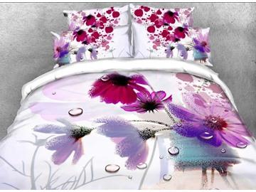 Vivilinen 3D Watercolor Poppy Printed Cotton 4-Piece Bedding Sets/Duvet Covers