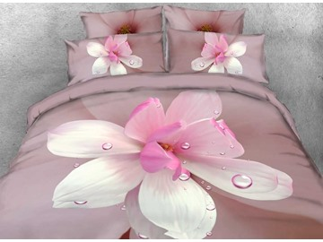 Onlwe 3D Dewy Magnolia Printed Cotton 4-Piece Bedding Sets/Duvet Covers
