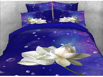 Onlwe 3D White Lotus and Bubbles Printed 4-Piece Purple Bedding Sets/Duvet Covers