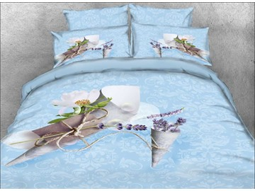Vivilinen 3D Lavender and Letter Printed Cotton 4-Piece Blue Bedding Sets/Duvet Covers
