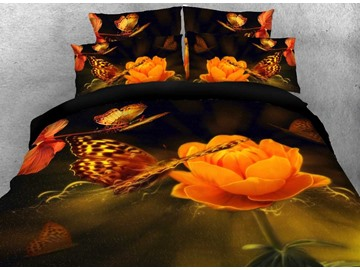 Globeflower and Butterfly Printed Cotton 3D 4-Piece Bedding Sets/Duvet Covers