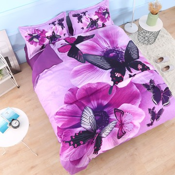 Onlwe 3D Pansy and Butterfly Printed Cotton 4-Piece Purple Bedding Sets/Duvet Covers
