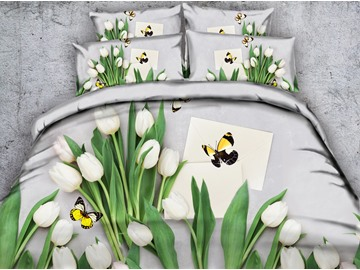 3D White Tulips and Butterfly Printed Cotton 4-Piece Bedding Sets/Duvet Covers