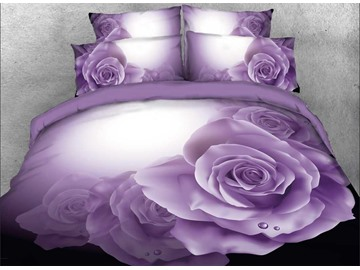 Onlwe 3D Dewy Purple Roses Printed 4-Piece Bedding Sets/Duvet Covers