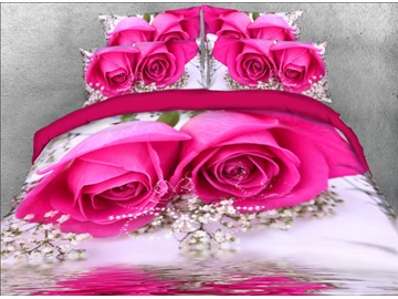 Onlwe 3D Hot Pink Rose and Baby's Breath 4-Piece Floral Bedding Sets/Duvet Covers
