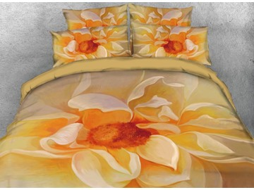 Onlwe 3D Artistic Floral Oil Painting Contemporary Style 4-Piece Bedding Sets/Duvet Covers