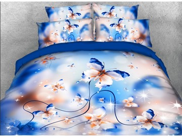 Onlwe 3D Elegant Butterflies Printed 4-Piece Blue Bedding Sets/Duvet Covers