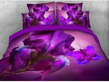 Purple Iris Tectorum and Butterfly Printed 4-Piece 3D Bedding Sets/Duvet Covers