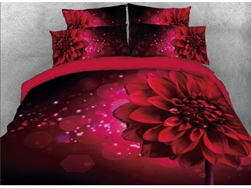 Onlwe 3D Sparkle Red Daisy Printed 4-Piece Bedding Sets/Duvet Covers