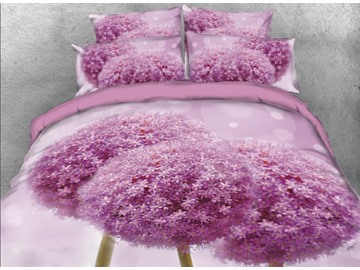 Onlwe 3D Fancy Purple Round Flowers Printed 4-Piece Bedding Sets/Duvet Covers