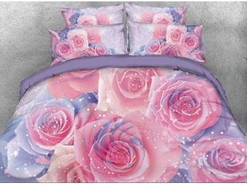 Vivilinen Romantic Pink Roses with Sparkle Light Printed 3D 4-Piece Bedding Sets/Duvet Cover