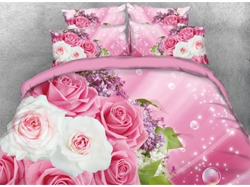 Vivilinen Romantic Pink and White Roses with Bubbles Printed 3D 4-Piece Bedding Sets/Duvet Cover