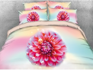 Vivilinen 3D Red Dahlia Pinnatan Cav Printed 4-Piece Bedding Sets/Duvet Covers