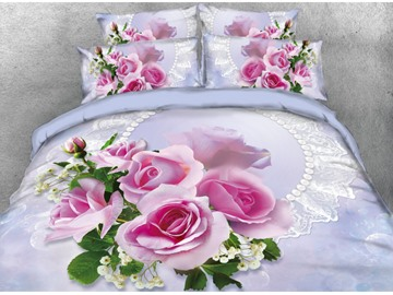 Onlwe 3D Pink Rose Printed 4-Piece Bedding Sets/Duvet Covers