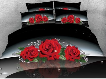 Onlwe 3D Red Rose with Green Leaves Printed 4-Piece Bedding Sets/Duvet Covers