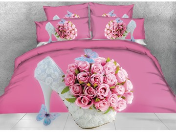 Vivilinen 3D Rose & High Heels Printed 4-Piece Blush Pink Bedding Sets/Duvet Covers