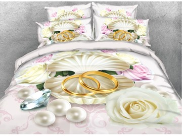 Onlwe 3D Rose & Pearl & Ring Printed 4-Piece Bedding Sets/Duvet Covers