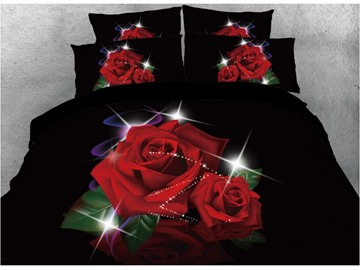 Onlwe 3D Shinning Red Rose Printed 4-Piece Black Bedding Sets/Duvet Covers